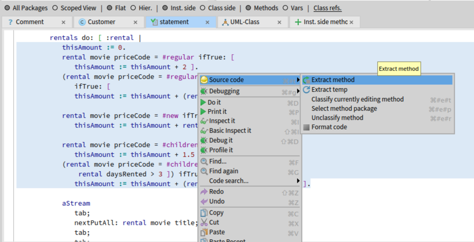 Selecting the code to be refactored